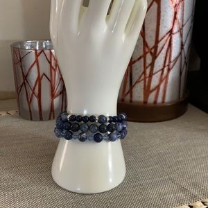 Sodalite and Jade Bracelet Set